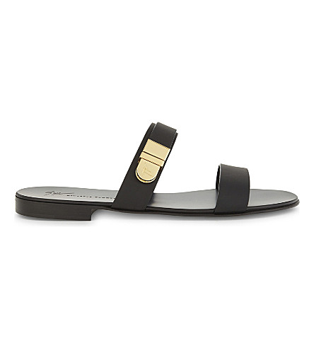 GIUSEPPE ZANOTTI Zak 10 leather sandals with buckle (Black