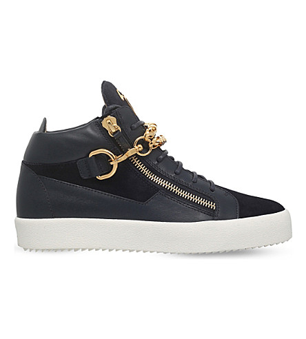 GIUSEPPE ZANOTTI Chain mid-top leather trainers