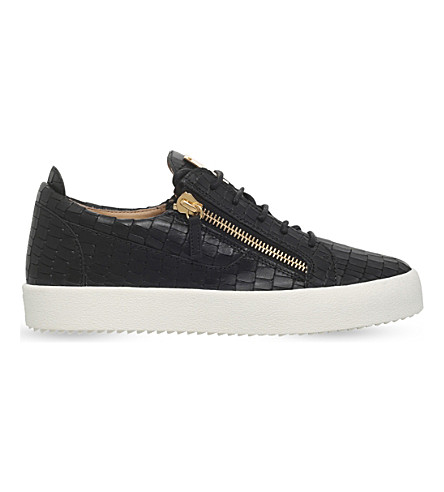 GIUSEPPE ZANOTTI Crocodile low-top leather trainers (Black