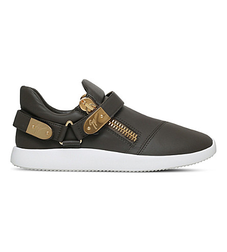 GIUSEPPE ZANOTTI Runner clasp-detail low-top leather trainers (Khaki