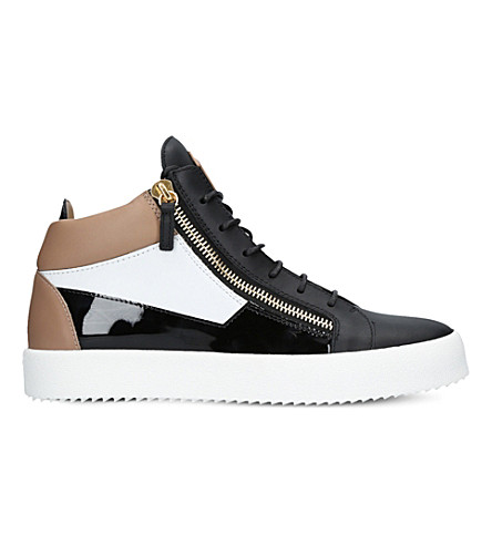 GIUSEPPE ZANOTTI Mid-top three-tone leather trainers (Blk/white