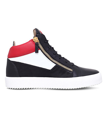 GIUSEPPE ZANOTTI Mid-top three-tone leather trainers (Blk/other