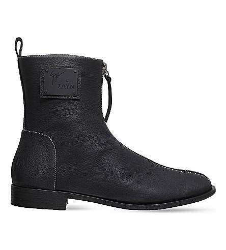 GIUSEPPE ZANOTTI Giuseppe for Zayn Yasr grain leather zip boots (Black
