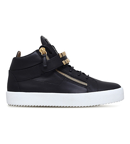 GIUSEPPE ZANOTTI Gold Tooth embellished leather trainers (Black