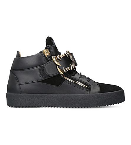 GIUSEPPE ZANOTTI Fangs leather high-top trainers (Black