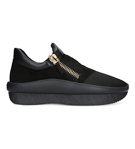 GIUSEPPE ZANOTTI Wedge suede and leather trainers (Black