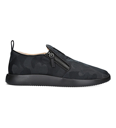 GIUSEPPE ZANOTTI Camouflage-print leather and canvas sneakers (Black/comb