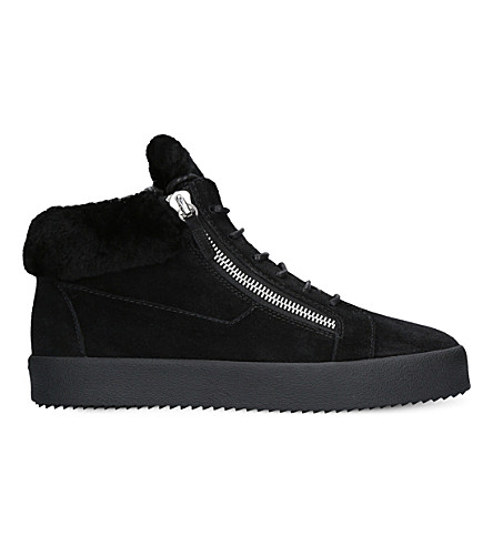 GIUSEPPE ZANOTTI Mid-top suede sneakers (Black