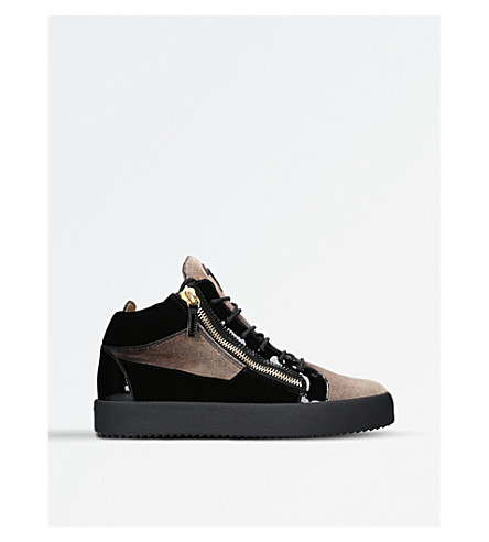 GIUSEPPE ZANOTTI Velvet high-top trainers (Brown