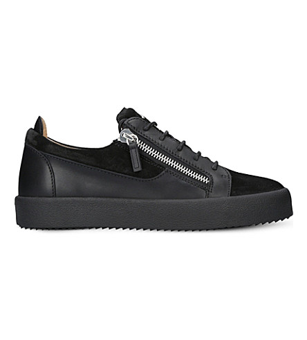 GIUSEPPE ZANOTTI Panelled leather and suedre trainers (Black