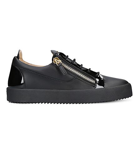 GIUSEPPE ZANOTTI Panelled leather sneakers (Black