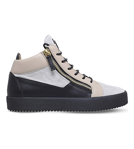 GIUSEPPE ZANOTTI Panelled leather trainers (Beige