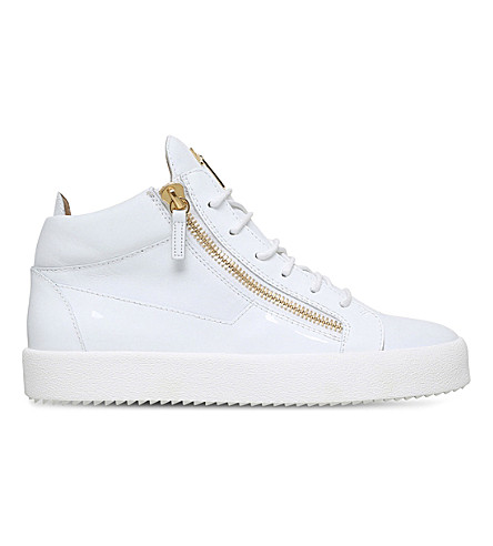 GIUSEPPE ZANOTTI Kriss patent-leather sneakers (White