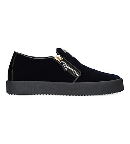 GIUSEPPE ZANOTTI Zipped velvet skate shoes (Navy