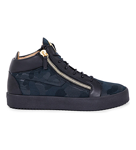 GIUSEPPE ZANOTTI Camouflage-print leather sneakers (Black/comb