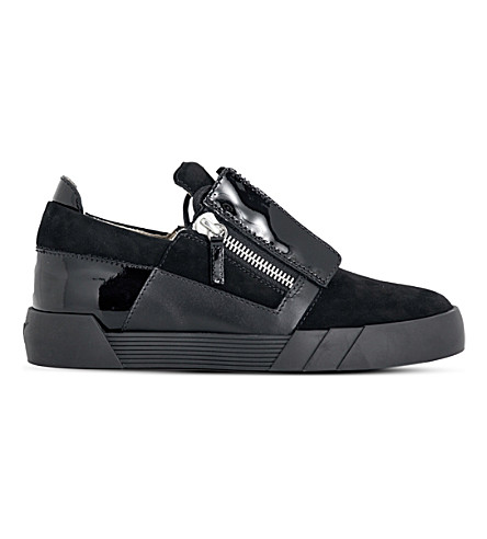 GIUSEPPE ZANOTTI Low-top suede and patent-leather trainers (Black