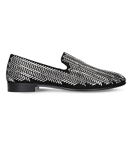 GIUSEPPE ZANOTTI Chevron stud suede slipper loafers (Silver