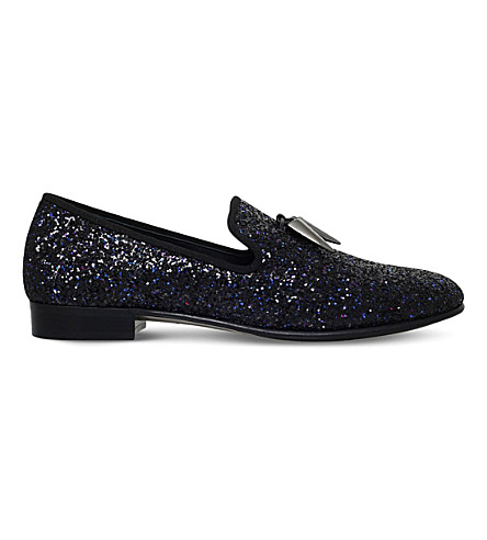 GIUSEPPE ZANOTTI Sharktooth glitter leather slippers (Blk/blue