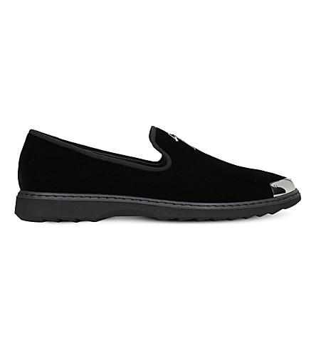 GIUSEPPE ZANOTTI Logo-detail velvet loafers (Black