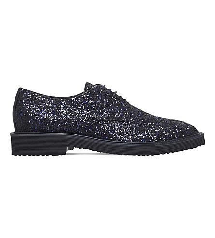 GIUSEPPE ZANOTTI Glitter-embellished leather Derbies (Blk/blue