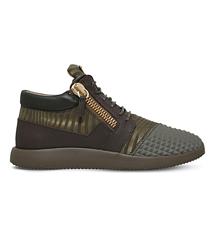 GIUSEPPE ZANOTTI Runner leather and fabric trainers (Khaki