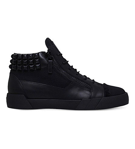 GIUSEPPE ZANOTTI Foxy London canvas and leather mid-top trainers (Black