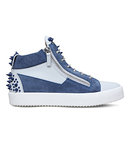 GIUSEPPE ZANOTTI Lex leather mid-top sneakers (White/navy