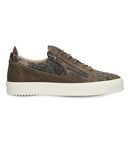 GIUSEPPE ZANOTTI Weave suede and leather low-top trainers (Khaki
