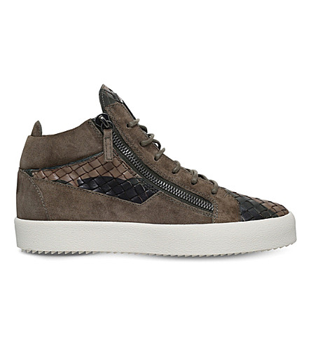 GIUSEPPE ZANOTTI Weave suede and leather mid-top sneakers (Khaki