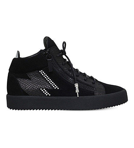 GIUSEPPE ZANOTTI Reptile-embossed leather and suede sneakers (Black