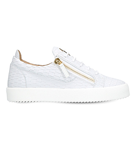 GIUSEPPE ZANOTTI Croc-embossed low-top leather trainers (White