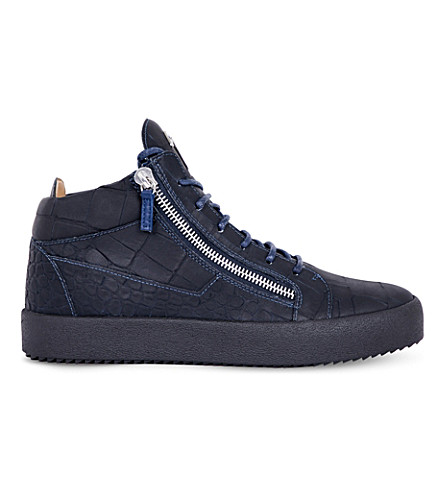 GIUSEPPE ZANOTTI Croc-effect leather trainers (Navy