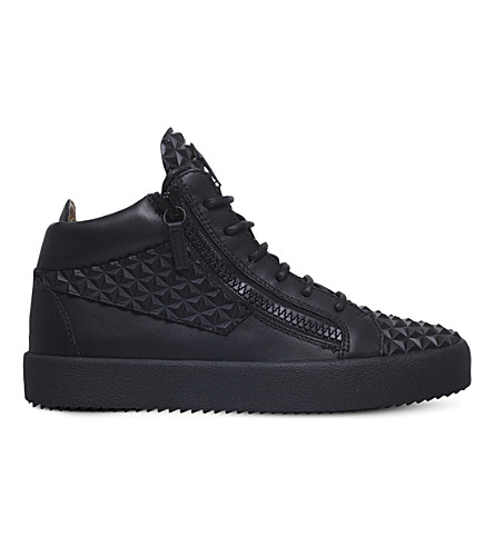 GIUSEPPE ZANOTTI Pyramid-studded leather trainers (Black