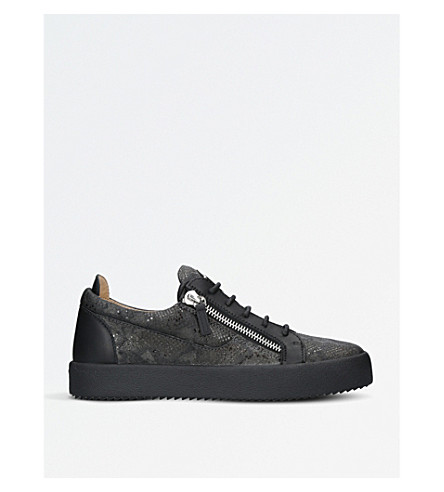 GIUSEPPE ZANOTTI Reptile-effect leather trainers (Grey