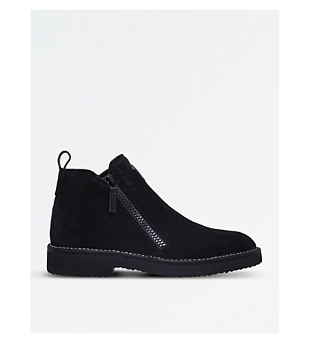 GIUSEPPE ZANOTTI Double-zip leather boots (Black