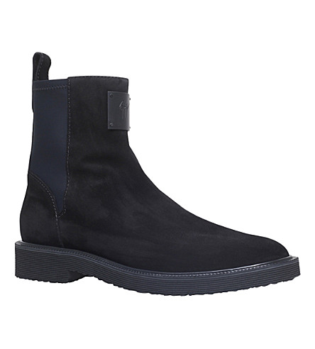 GIUSEPPE ZANOTTI Neoprene-Panel Suede Chelsea Boots in Black