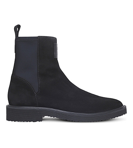 GIUSEPPE ZANOTTI Neoprene-panel suede Chelsea boots (Black