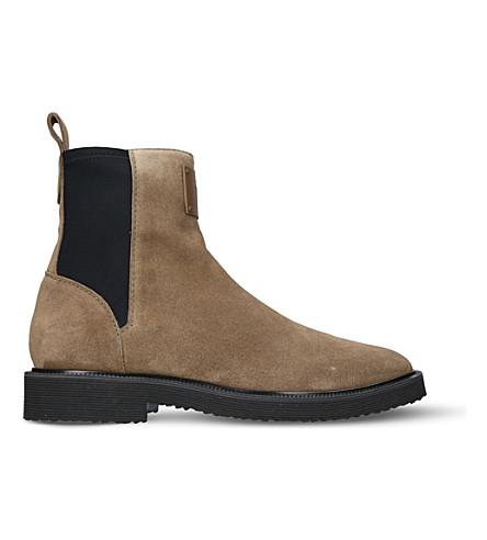 GIUSEPPE ZANOTTI 氯丁橡胶-面板麂皮绒切尔西靴子 (棕色