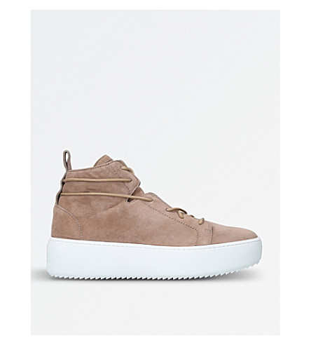 GIUSEPPE ZANOTTI Suede flatform mid-top trainers (Beige