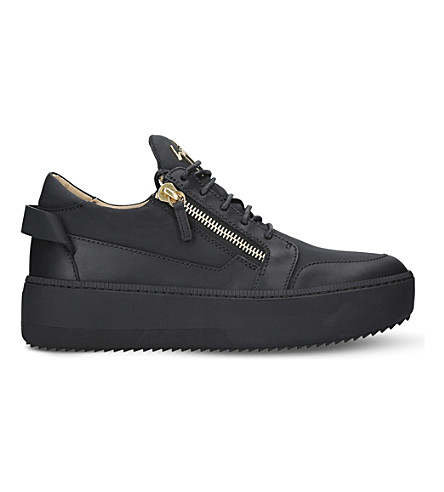 Black GIUSEPPE ZANOTTI Wedge low top flatform leather trainers