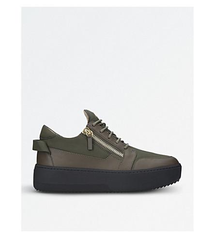 GIUSEPPE ZANOTTI Double zip leather sneakers (Khaki