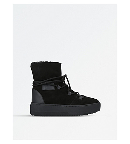 GIUSEPPE ZANOTTI Shearling suede snow boots (Black