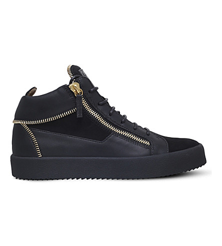 GIUSEPPE ZANOTTI Mid-top leather and suede trainers (Black