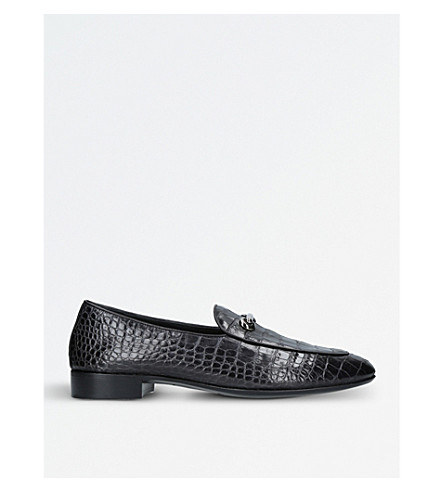 GIUSEPPE ZANOTTI Crocodile-embossed leather loafers (Black