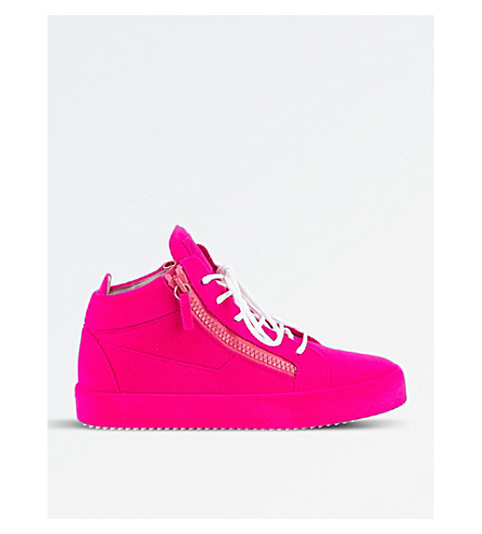 GIUSEPPE ZANOTTI Flock velvet mid-top trainers (Pink
