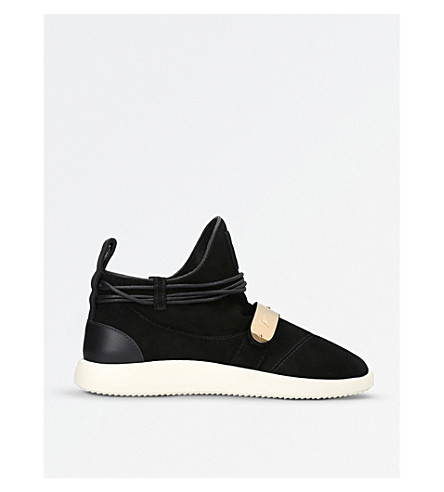 GIUSEPPE ZANOTTI 海登绒面革运动鞋 (黑色