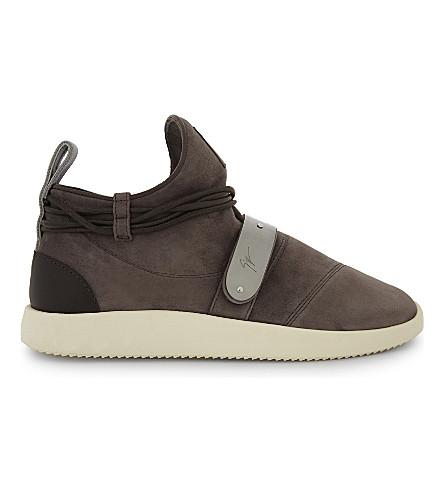 GIUSEPPE ZANOTTI 麂皮绒运动鞋 (灰色