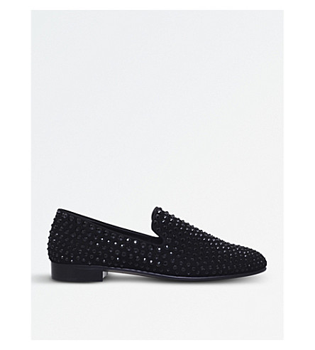GIUSEPPE ZANOTTI Crystal-embellished suede loafers (Black