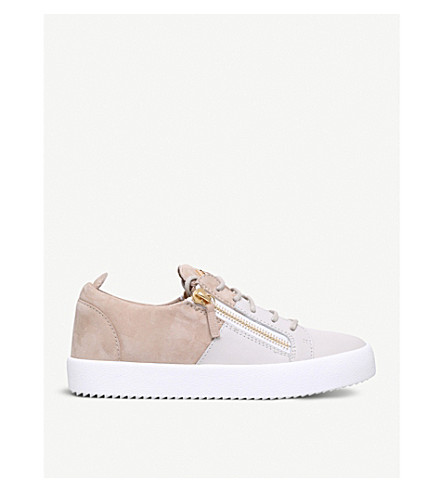 GIUSEPPE ZANOTTI Double leather and suede trainers (Taupe