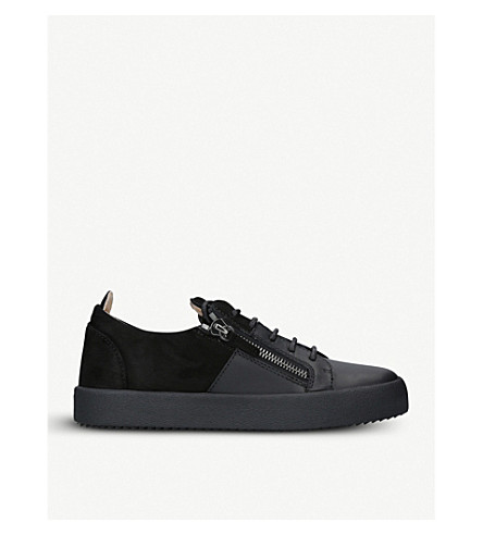 GIUSEPPE ZANOTTI Double leather and suede trainers (Black